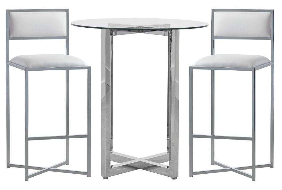 Amalfi White Glass Pub Table & 2 Metal Barstools
