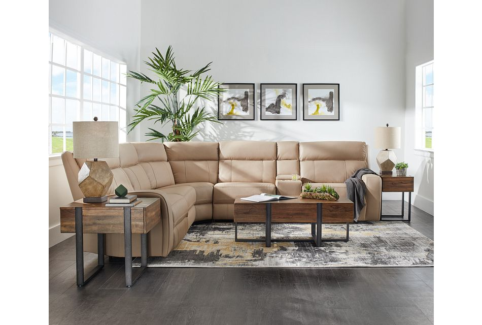 Rhett Taupe Micro Small Triple Power Reclining Two-arm Sectional