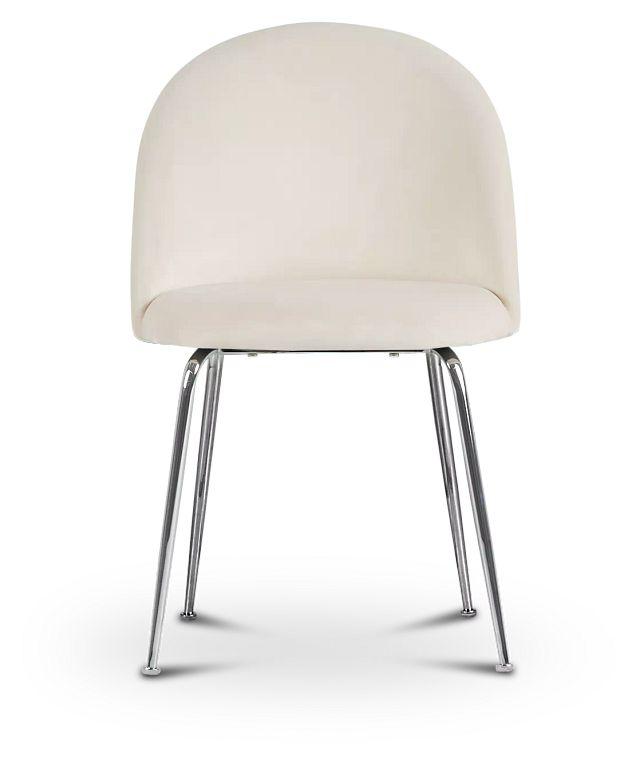 Capri Ivory Upholstered Side Chair W/ Chrome Legs (3)