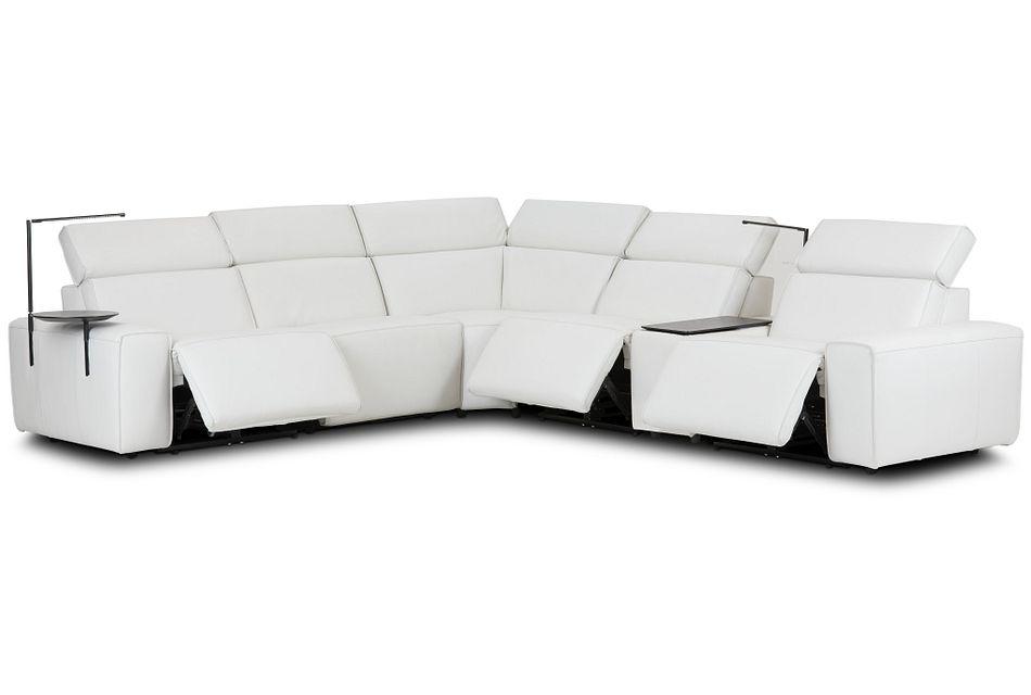 Carmelo White Leather Medium Triple Power Sectional W/left Table & Light