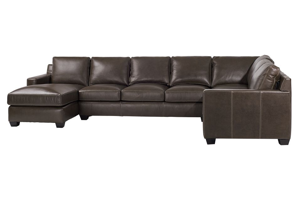 Carson Dark Brown Leather Medium Left Chaise Memory Foam Sleeper Sectional