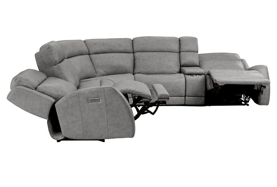 Rawlings Dark Gray Leather Medium Dual Power 2-arm Reclining Sectional