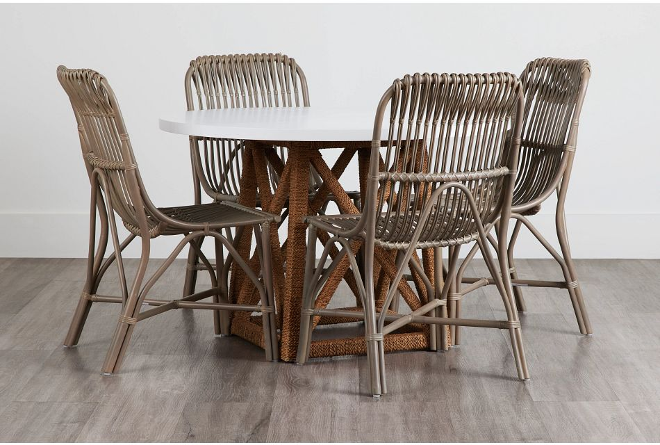 Greenwich Two-Tone Round Table & 4 Gray Rattan Chairs,  (0)