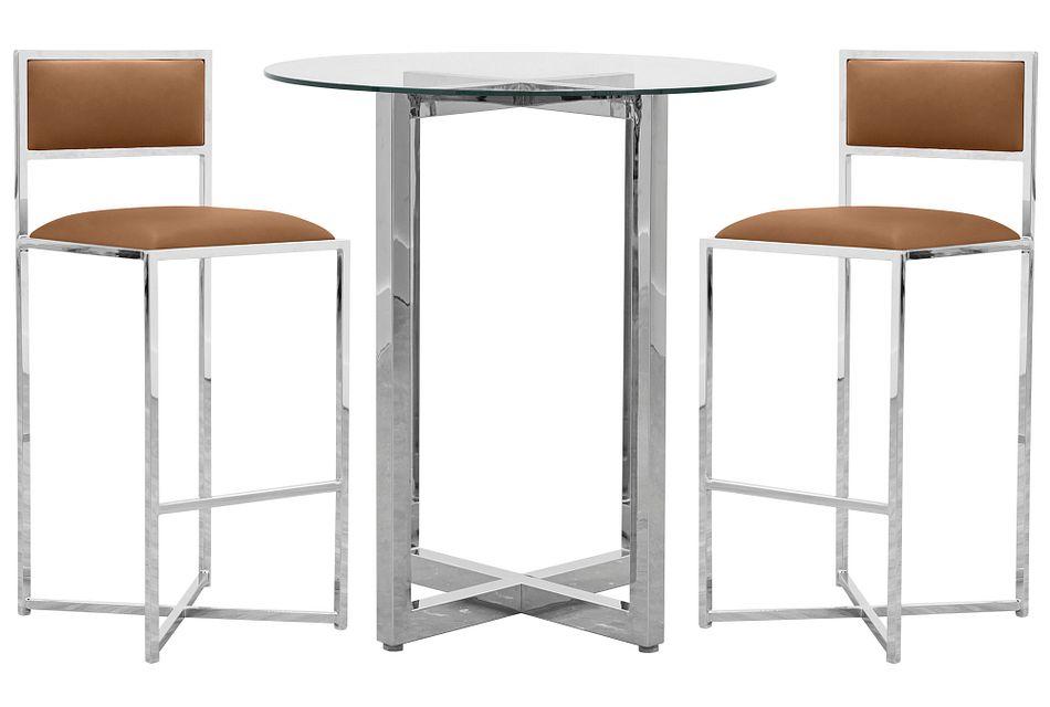 Amalfi Brown Glass Pub Table & 2 Metal Barstools