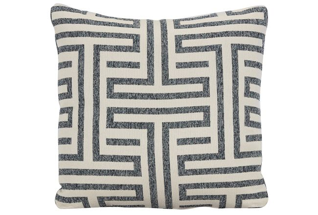 Doric Blue Fabric Square Accent Pillow