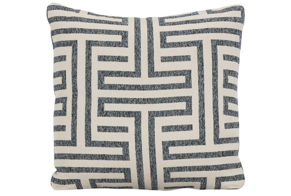 Doric Blue Fabric Square Accent Pillow