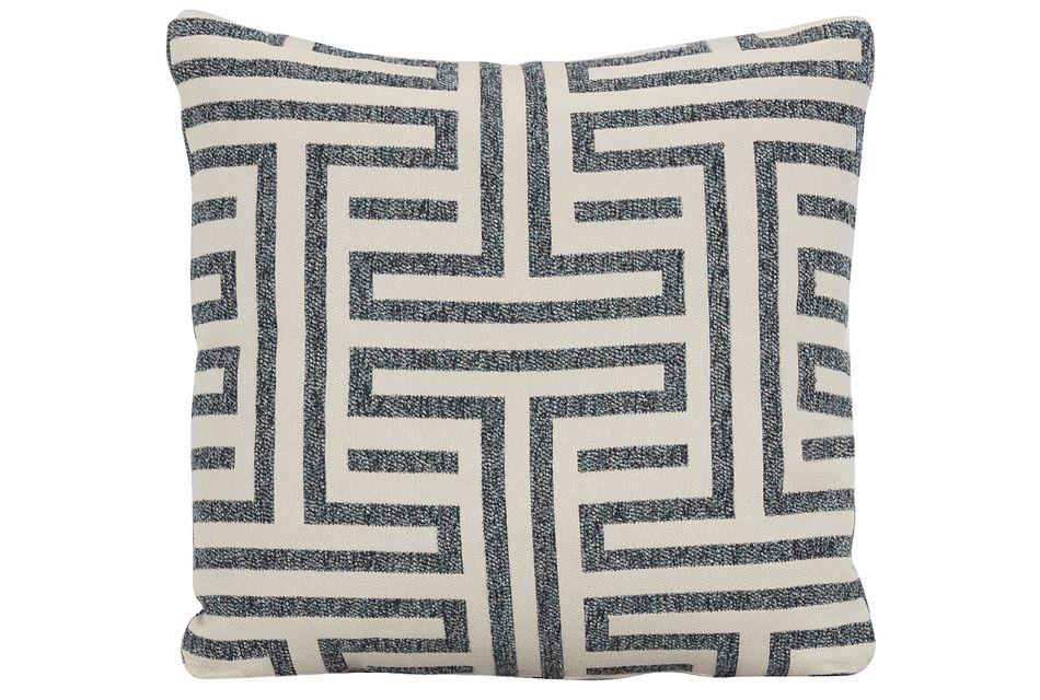 Doric Blue Fabric Square Accent Pillow,  (0)