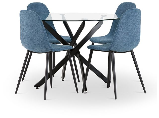 Havana Black Blue Round Table & 4 Upholstered Chairs (1)