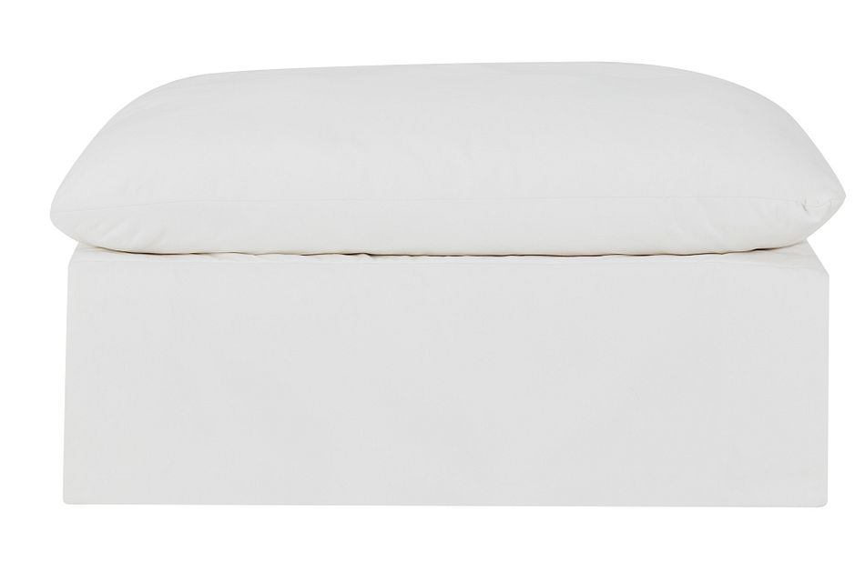 Raegan White Fabric Cocktail Ottoman