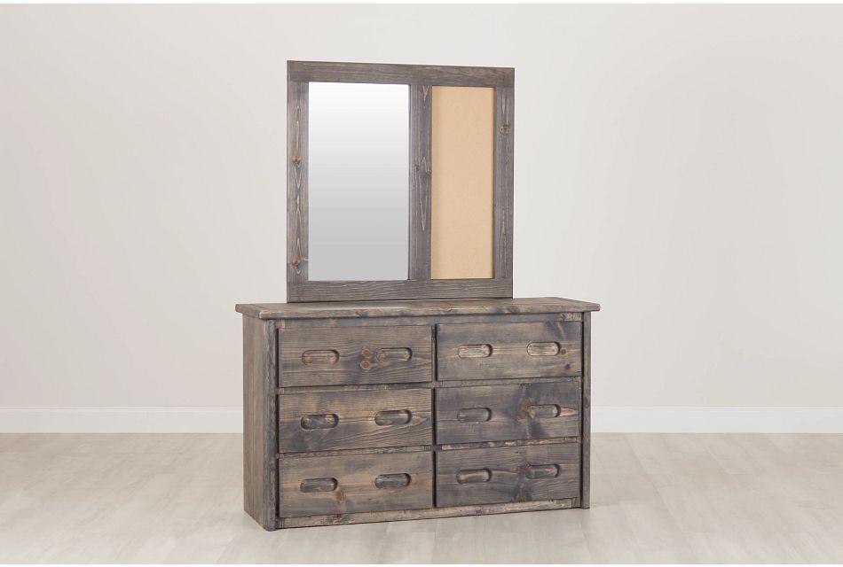 Cinnamon Gray Large Dresser & Mirror