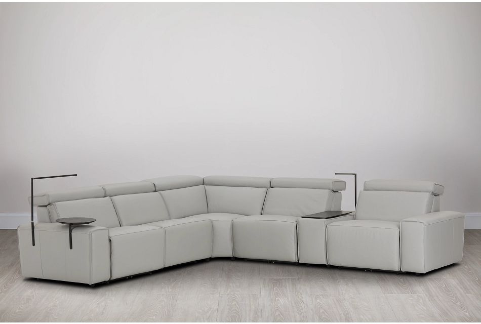 Carmelo Gray Leather Medium Dual Power Sectional W/left Table & Light