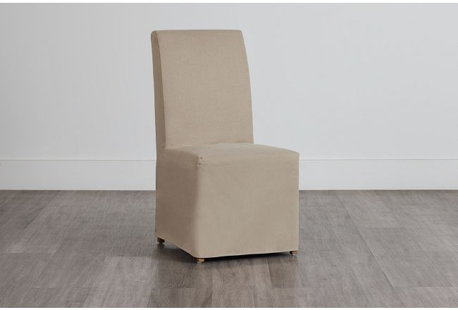 Destination Beige Long Slipcover Chair With Light Tone Leg