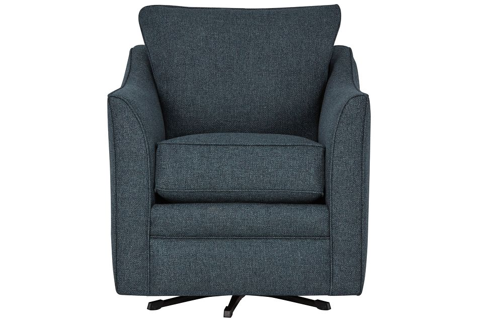 Avery Dark Blue Fabric Swivel Rocking Glider