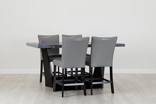 Auburn Dark Gray High Table & 4 Gray Upholstered Barstools (0)
