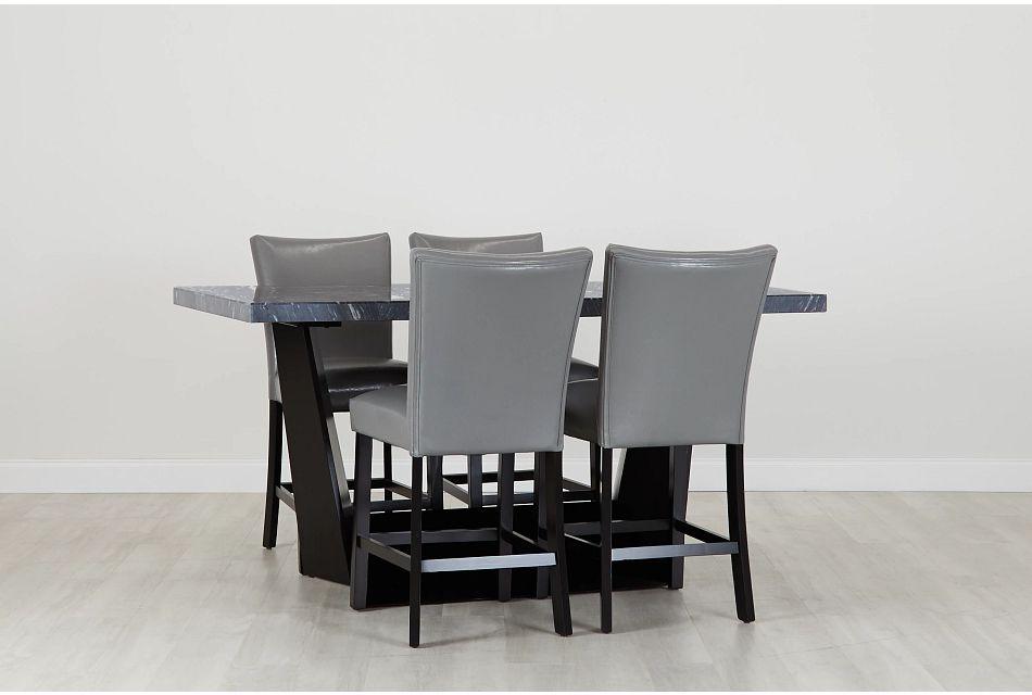 Auburn Dark Gray High Table & 4 Gray Upholstered Barstools, %%bed_Size%% (0)