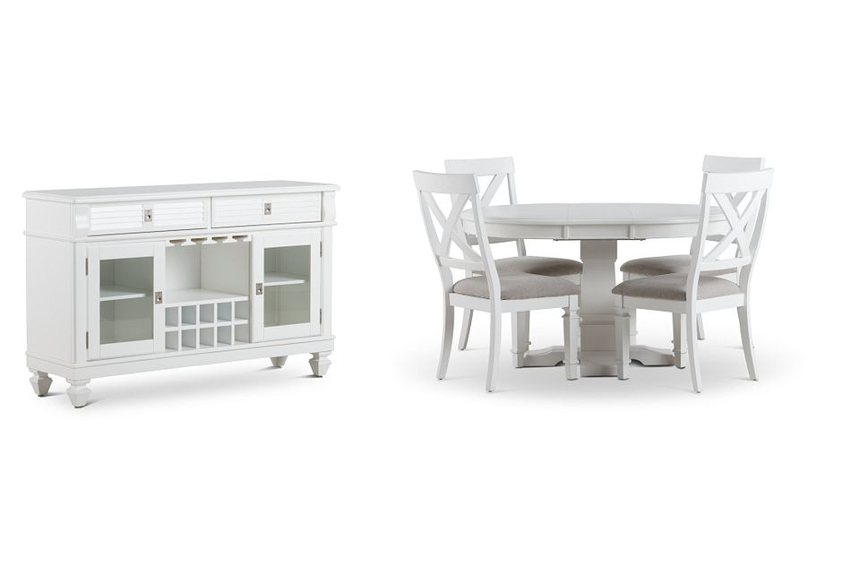 Marina White Round Dining Room
