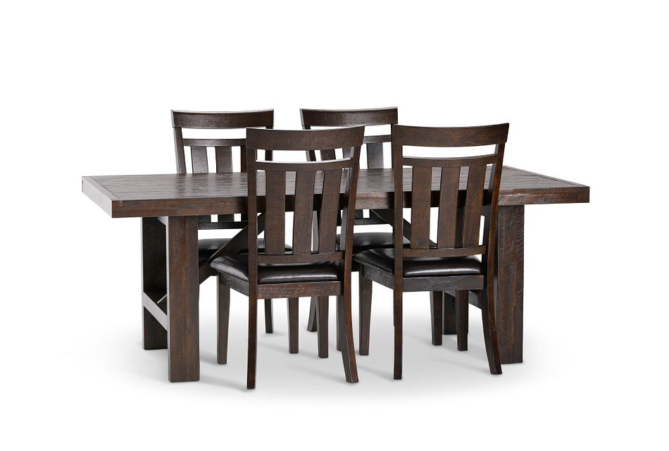 Kona Grove Dark Tone Rect Table & 4 Wood Chairs