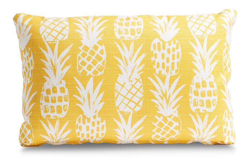Pineapple Yellow Lumbar Indoor/outdoor Accent Pillow