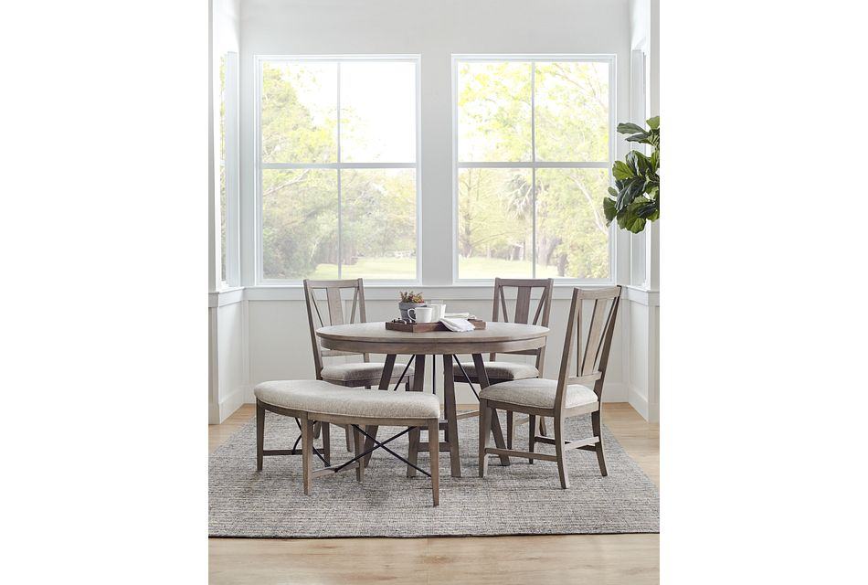 Heron Cove Light Tone Round Table, 3 Chairs & Bench