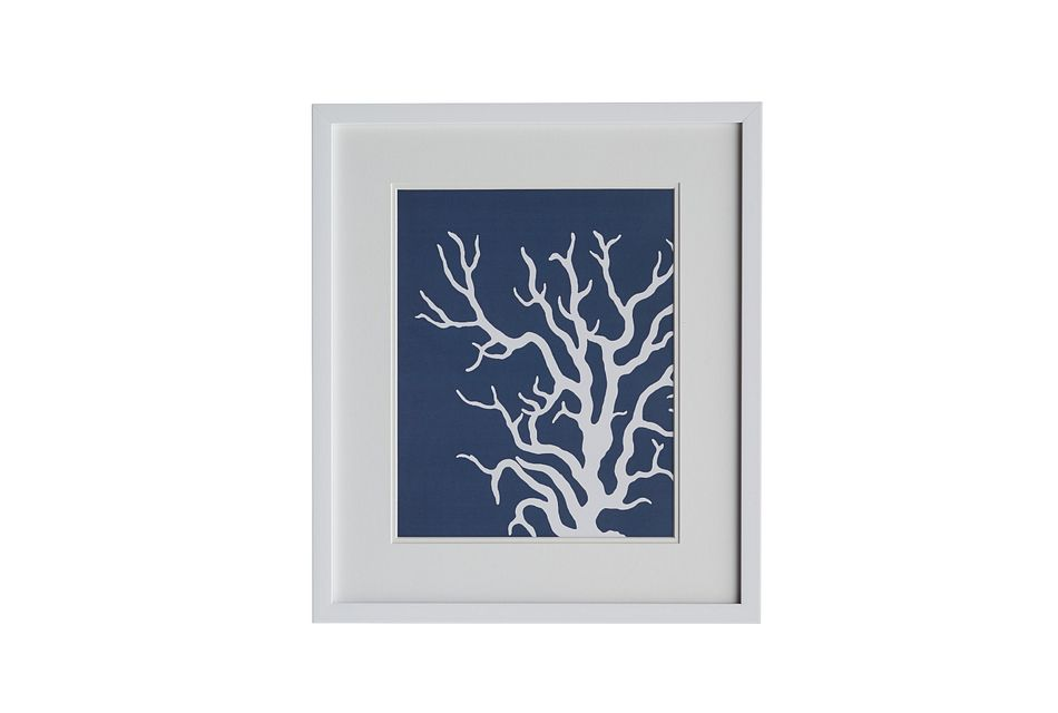 Waze Dark Blue Framed Wall Art