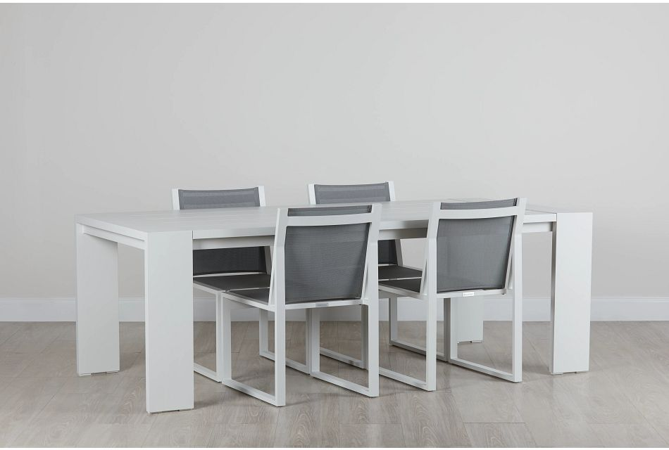 """Linear White 87"""" Aluminum Table & 4 Sling Side Chairs"""