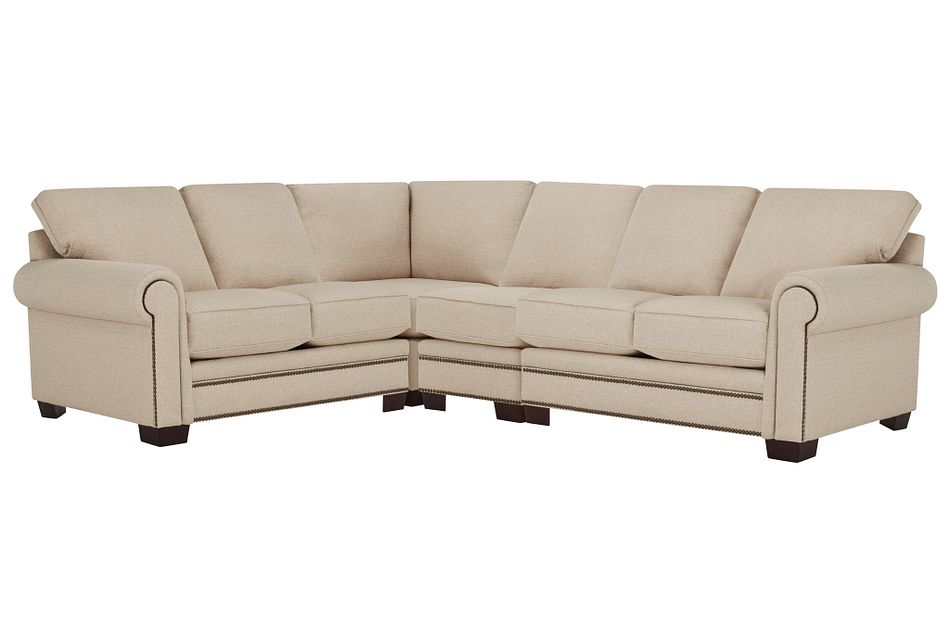 Foster Khaki Fabric Large Two-arm Sectional