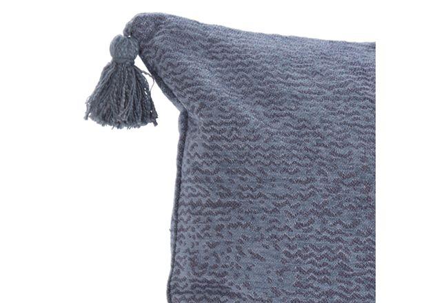 Carmela Blue Cotton Lumbar Accent Pillow