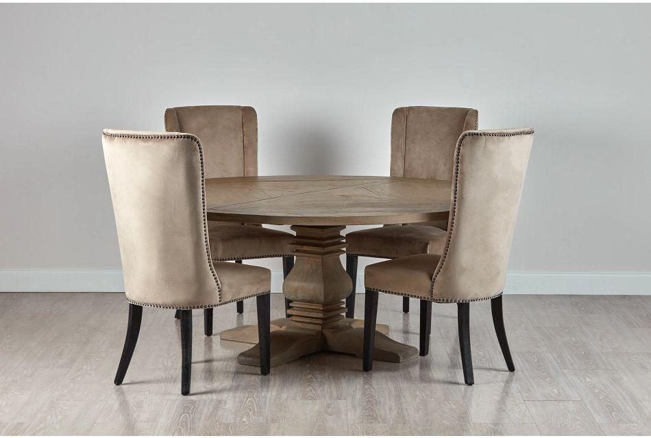 """Hadlow Gray 72"""" Table & 4 Velvet Chairs"""