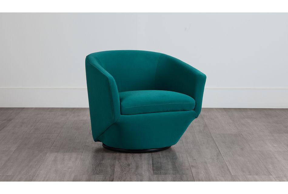 Darian Teal Velvet Swivel Accent Chair,  (0)