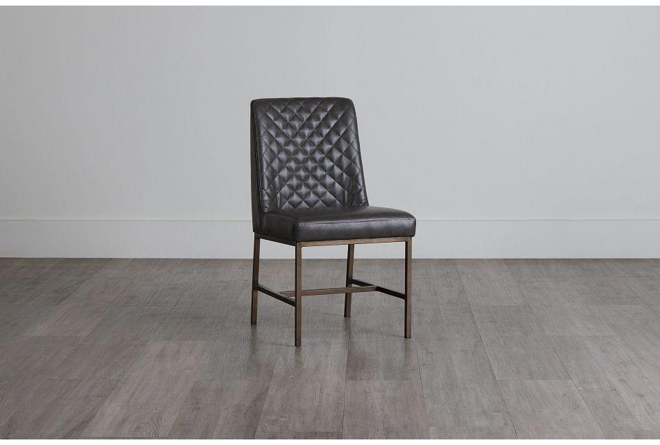 Sierra Dark Gray Bonded Ltr Side Chair,  (0)