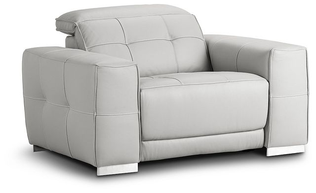 Reva Gray Leather Power Recliner With Power Headrest (1)
