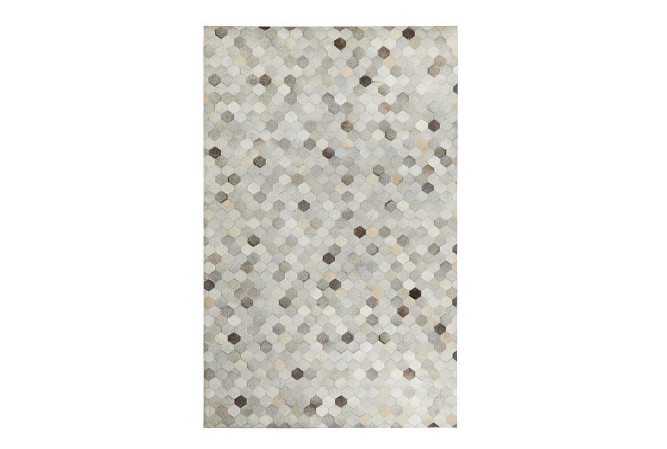 Corbit Light Gray Leather 8x10 Area Rug