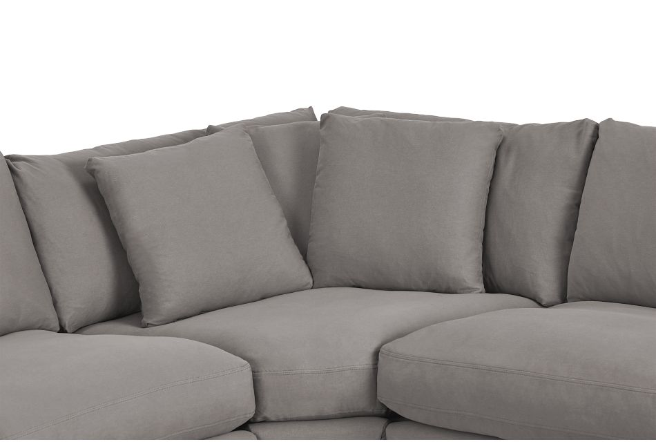 Delilah Gray Fabric Small Two-arm Sectional