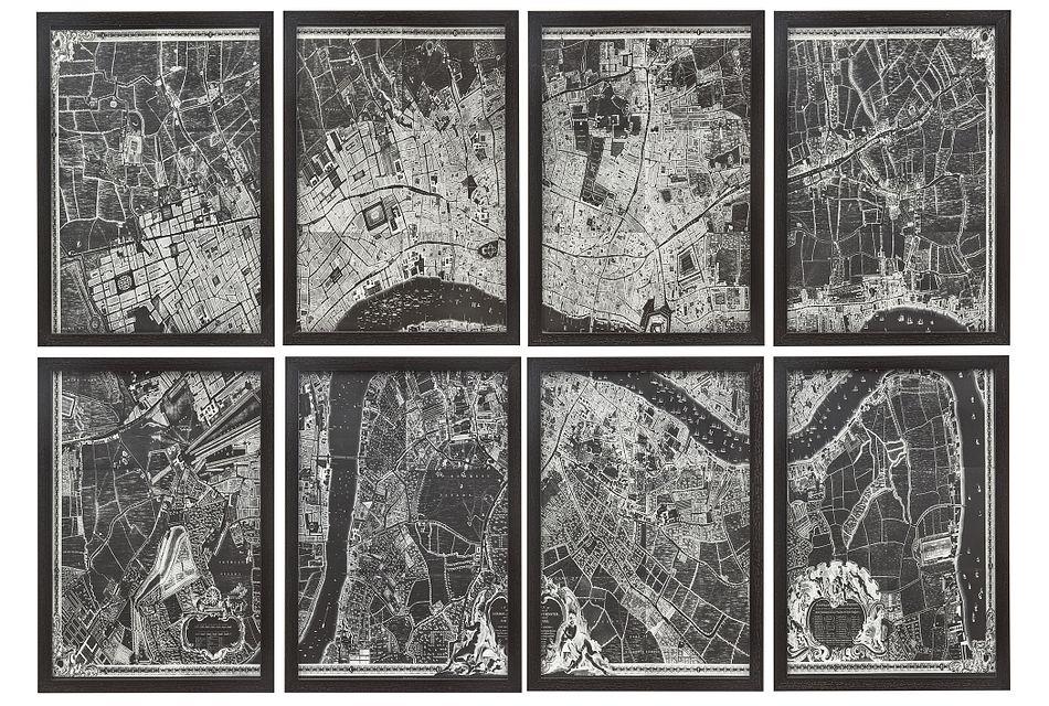 Nightview Black Set Of 8 Framed Wall Art