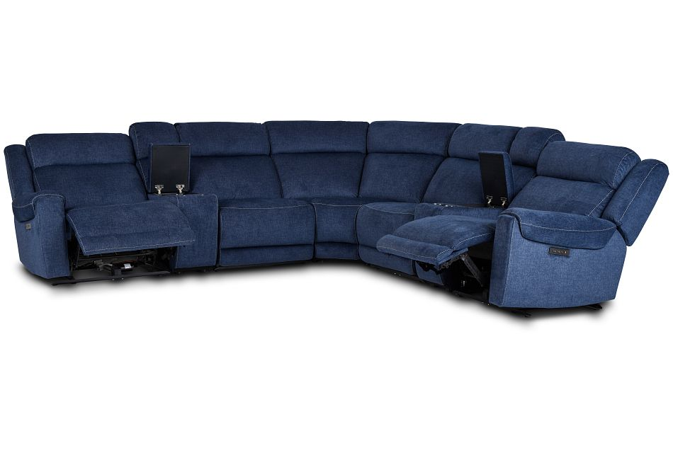 Beckett Dark Blue Micro Large Dual Power Reclining Two-Arm Sectional,  (3)