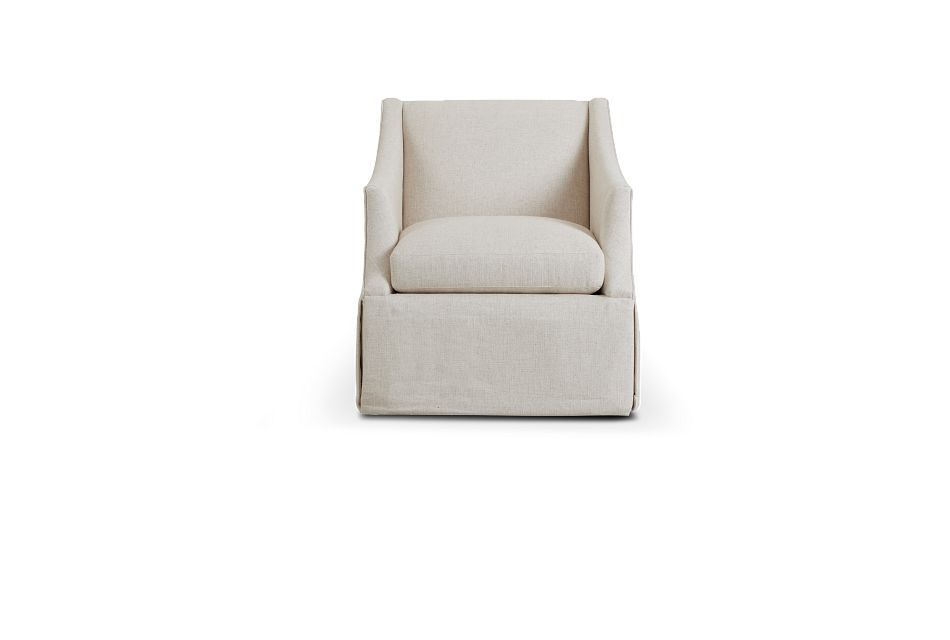 Clayton White Fabric Swivel Accent Chair,  (3)