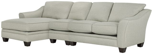 Avery Light Green Fabric Small Left Chaise Sectional (0)