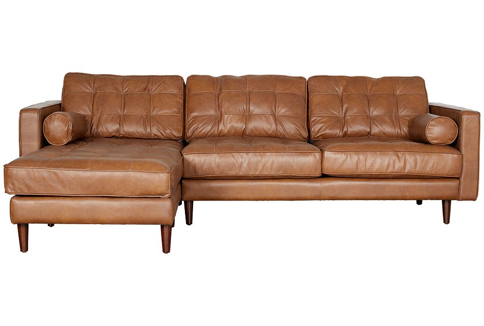 Encino Medium Brown Leather Left Chaise Sectional