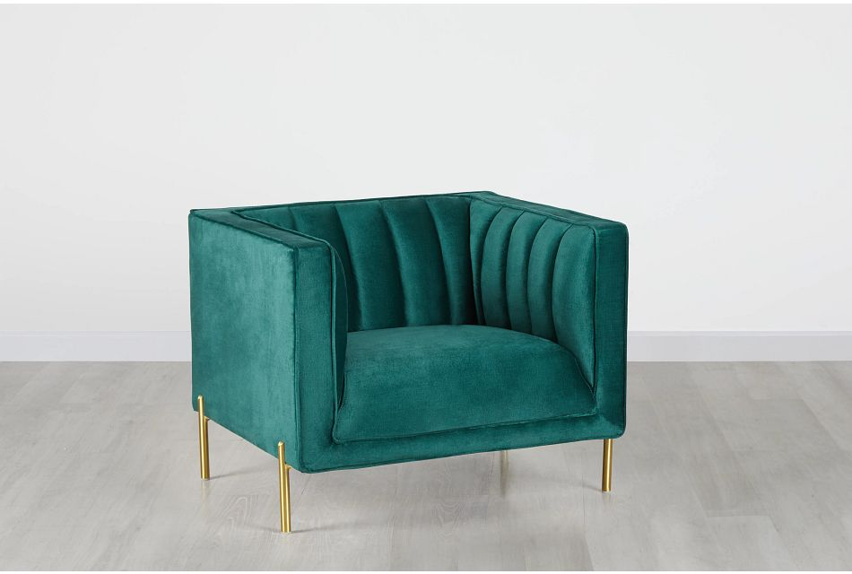 Bella Dark Green Velvet Chair