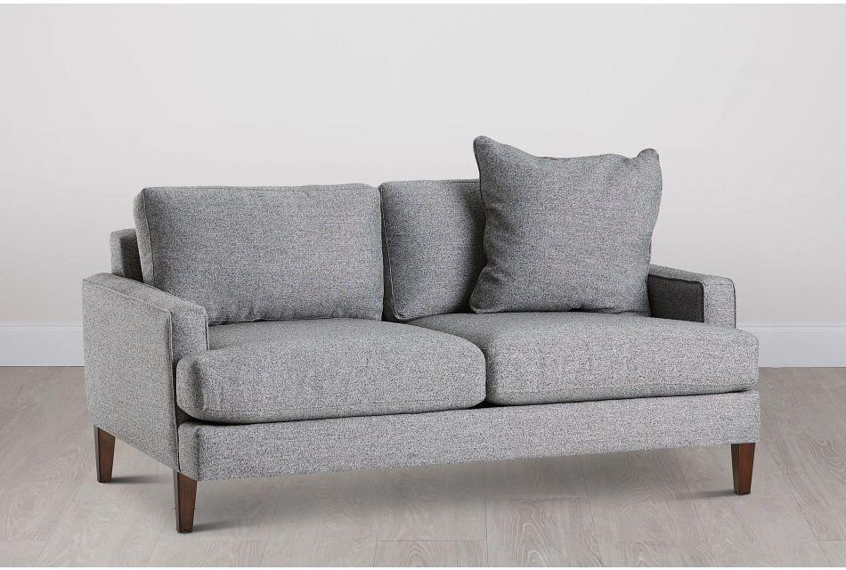 Morgan Dark Gray Fabric Loveseat With Wood Legs
