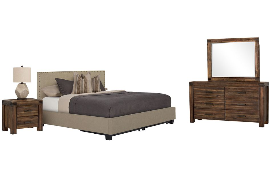 Holden Taupe Uph Platform Storage Bedroom