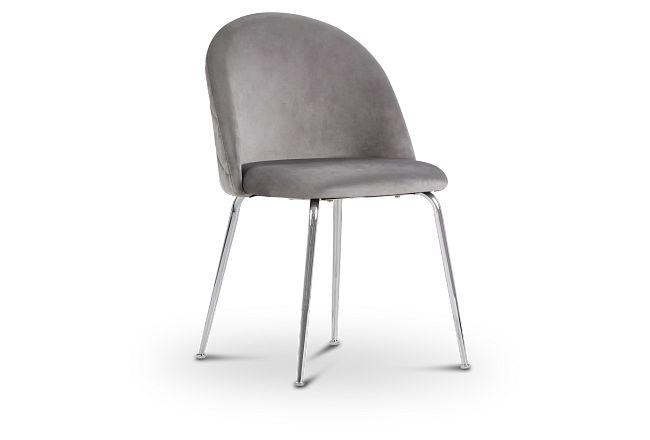 Capri Gray Upholstered Side Chair W/ Chrome Legs