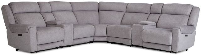 Beckett Gray Micro Large Triple Power Reclining Two-arm Sectional (1)