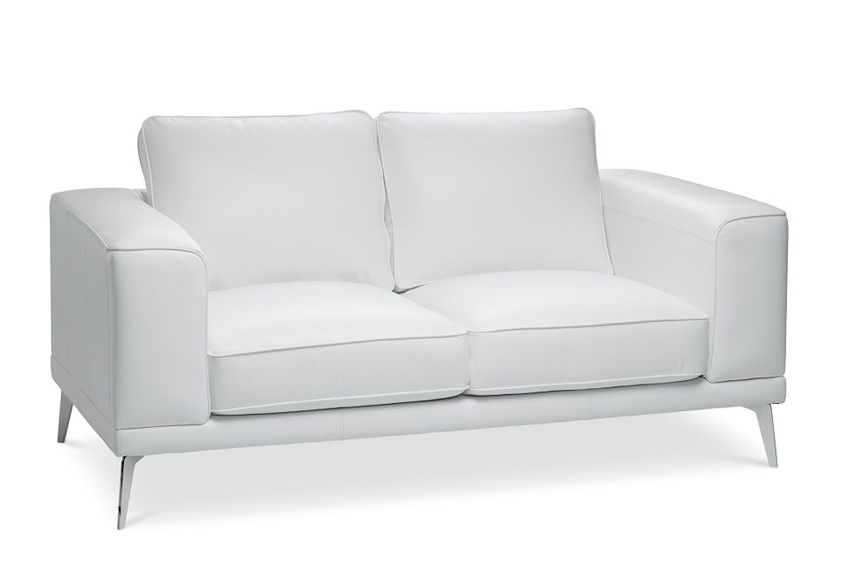 Naples White Leather Loveseat With Metal Legs