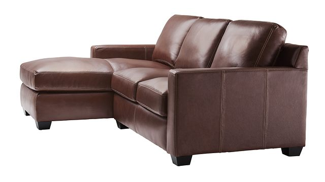 Carson Medium Brown Leather Small Left Chaise Sectional (1)