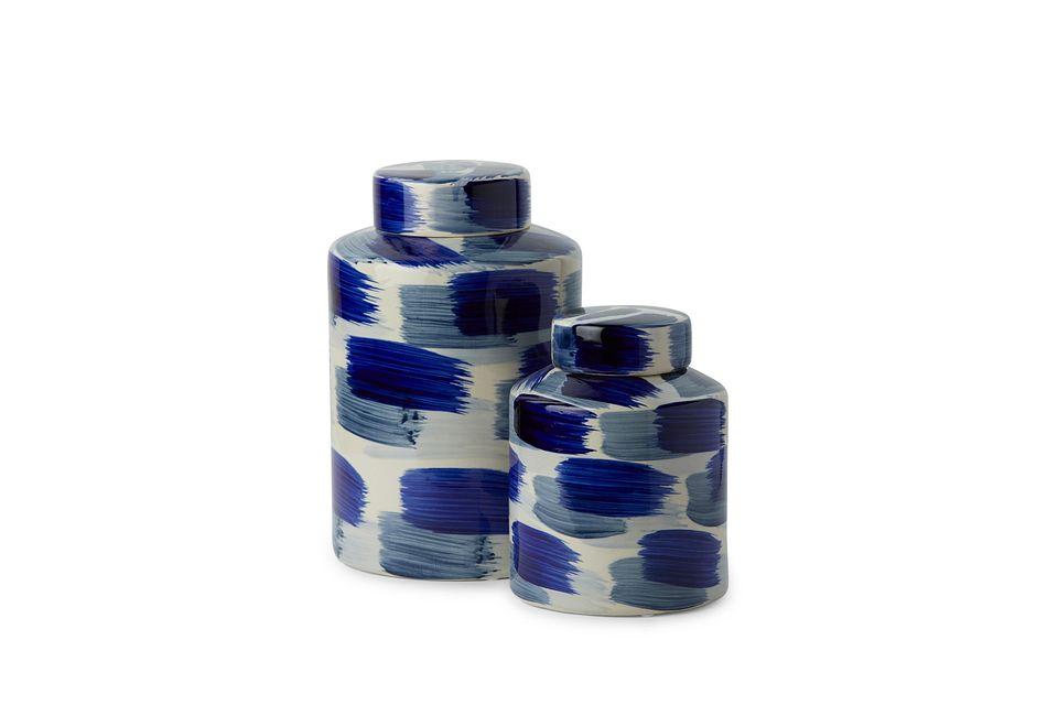Alula Large Dk Blue Jar,  (2)