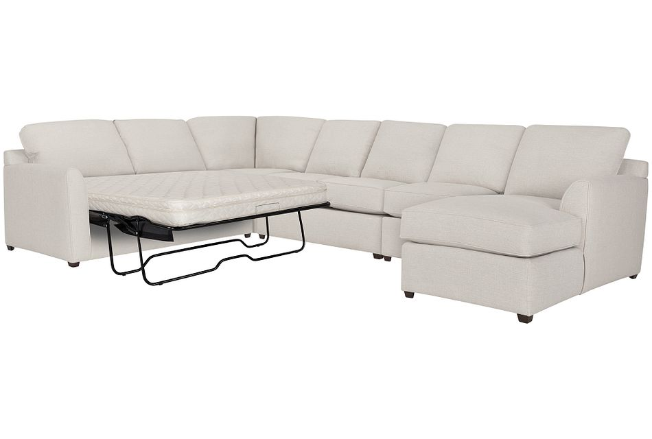 Asheville Light Taupe  FABRIC Right Chaise Innerspring Sleeper Sectional,  (0)