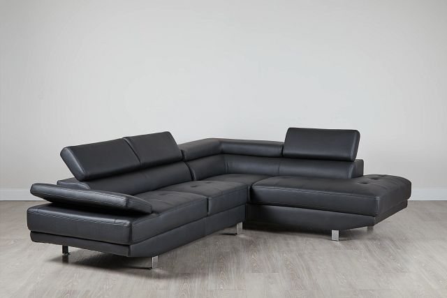 Zane Black Micro Right Chaise Sectional (0)