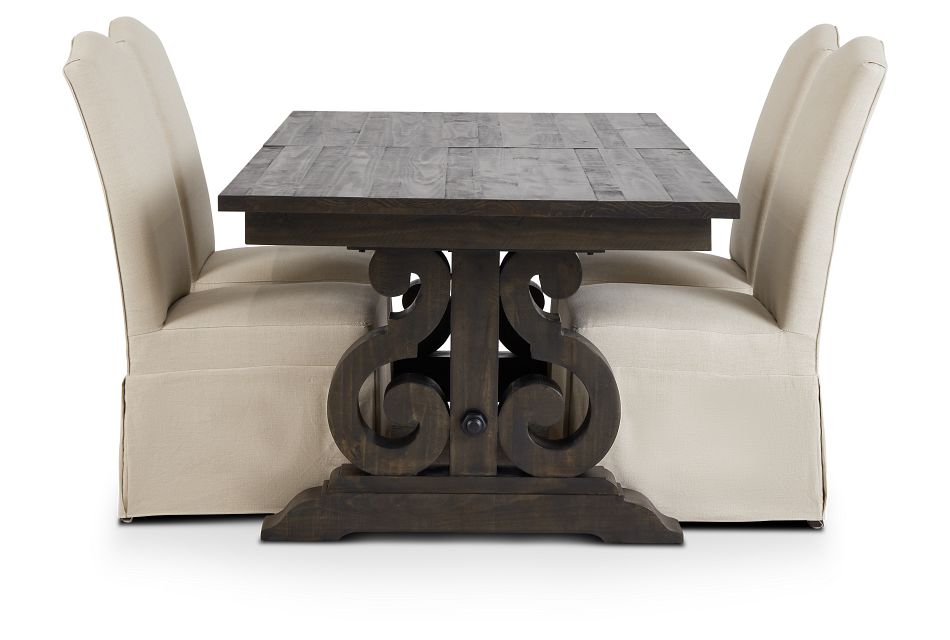 Sonoma Dark Tone Trestle Table & 4 Upholstered Chairs,  (2)