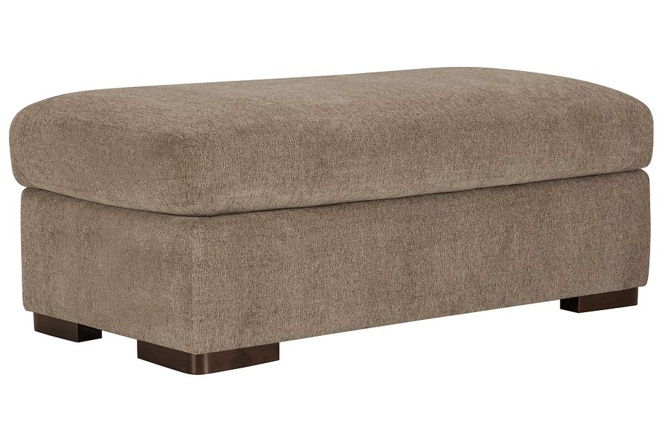 Belair Dark Taupe Fabric Large Ottoman
